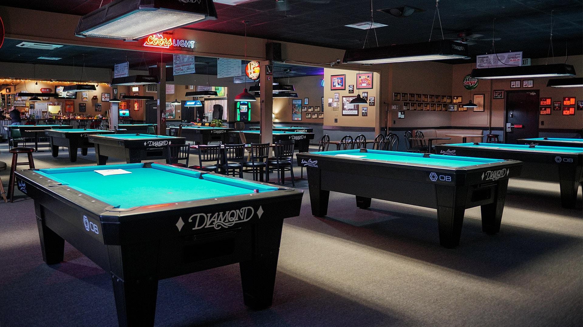 Diamond pool tables at Poppa G's Billiards - Birmingham, Pelham, AL